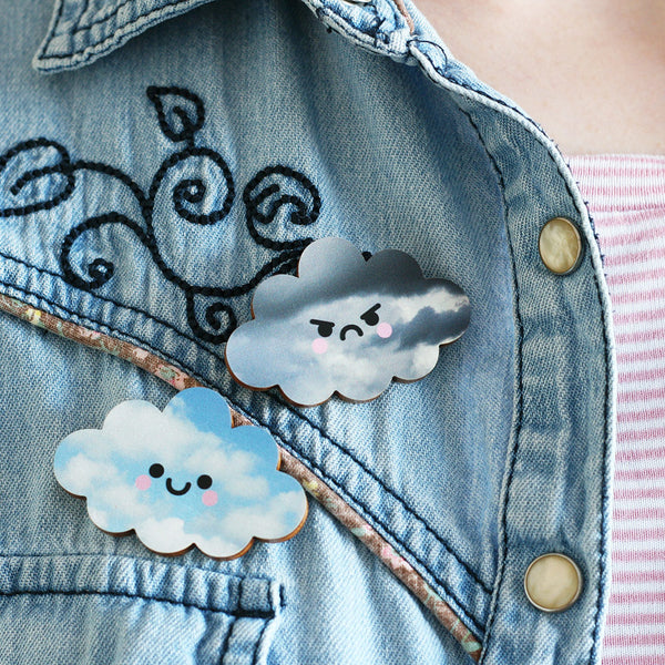Happy and Angry Cloud Wooden Pin Badges