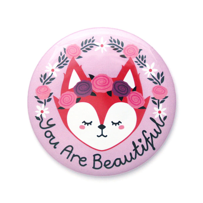 You Are Beautiful Fox Pocket Mirror by hannahdoodle