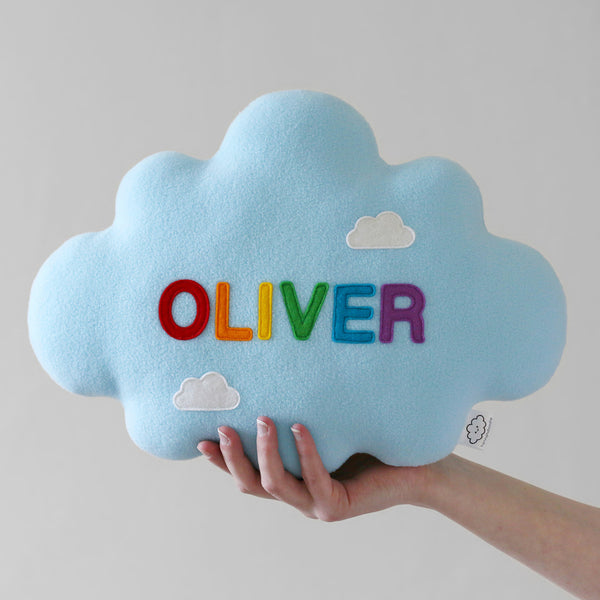 Blue Plush Pillow with a Rainbow Name