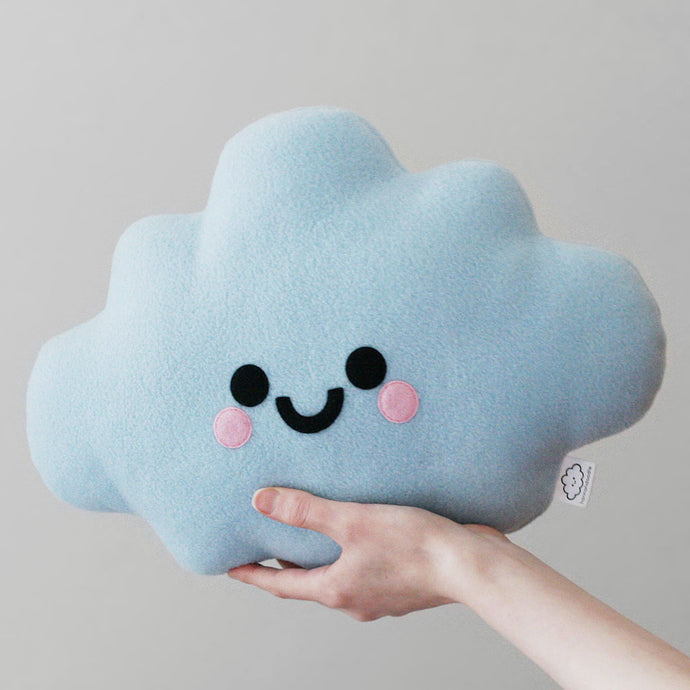Blue Cloud Plush Pillow with happy face