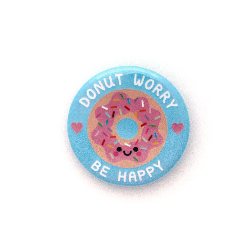 Blue Donut Worry, Be Happy 38mm Button Badge