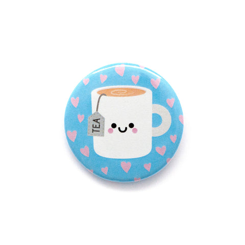 Mug of tea button badge