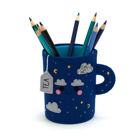 Blue night sky teacup pen pot by hannahdoodle