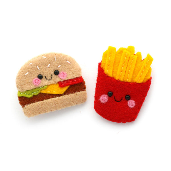 Burger and Fries Felt Brooches