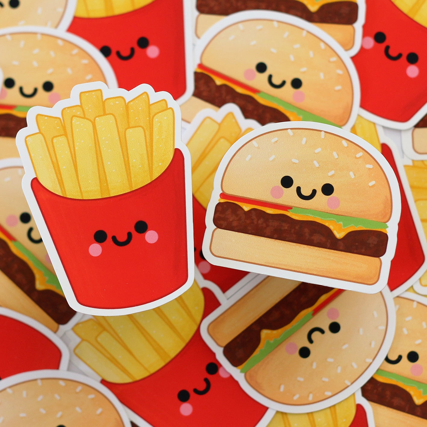 Burger and French Fries Sticker Set