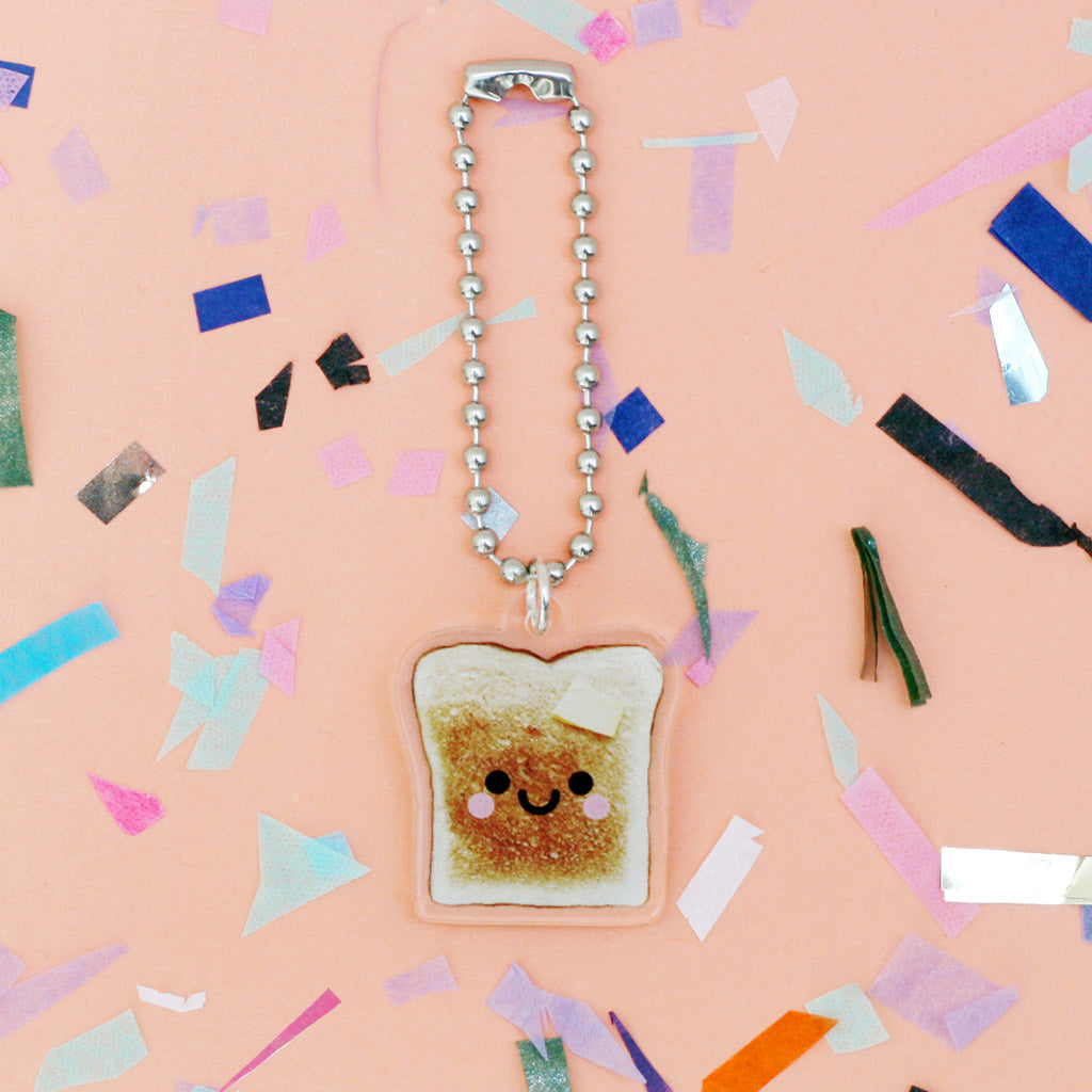 Toast acrylic keychain happy face by hannahdoodle