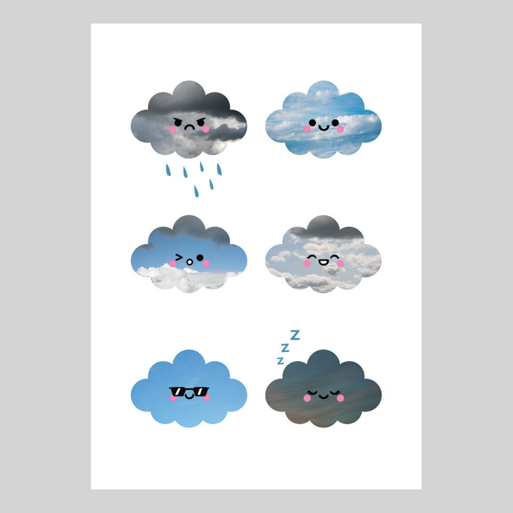 Cloud Collection, A5 Art Print by hannahdoodle