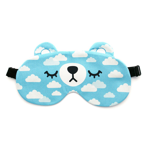 Bear sleep mask with clouds pattern