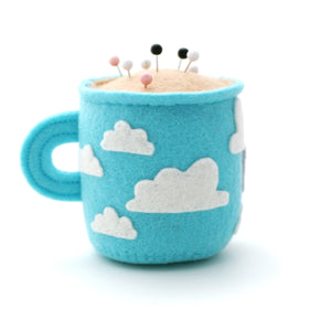 Sky Blue Teacup Pincushion with Clouds