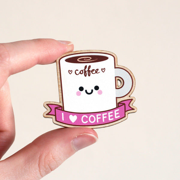 coffee wooden pin badge