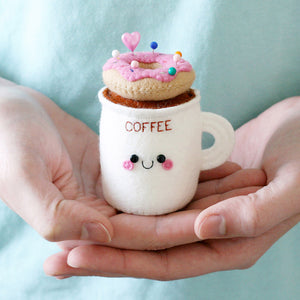 coffee cup pincushion with strawberry donut by hannahdoodle