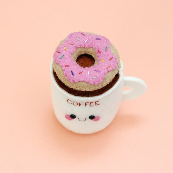 coffee cup pincushion with strawberry donut