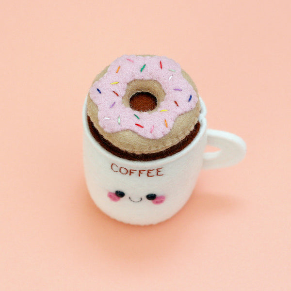 coffee cup pincushion with light pink donut on top