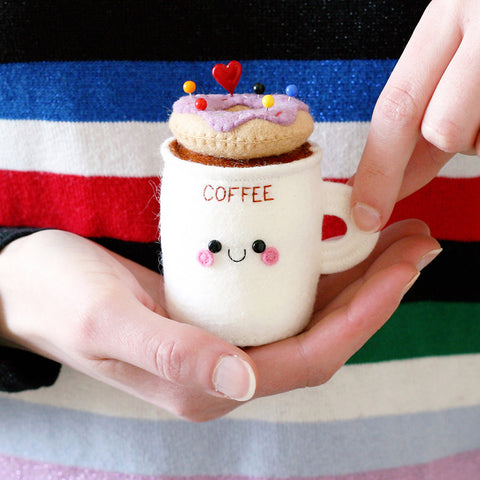 coffee mug pincushion with lilac donut