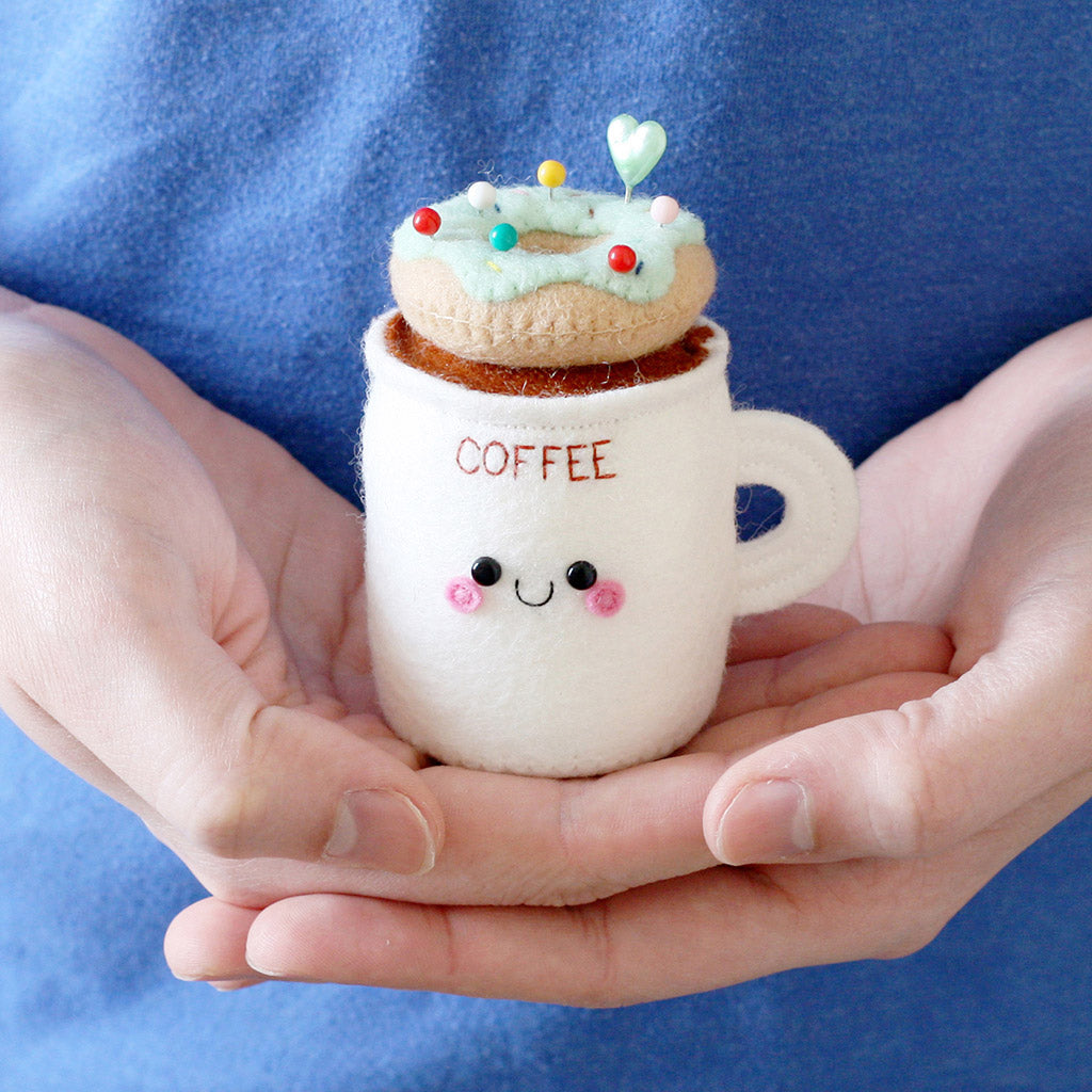 mint donut coffee cup pincushion, sewing gift