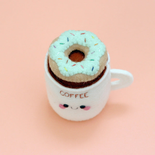 coffee cup pincushion with mint donut
