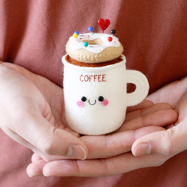coffee cup pincushion white frosting