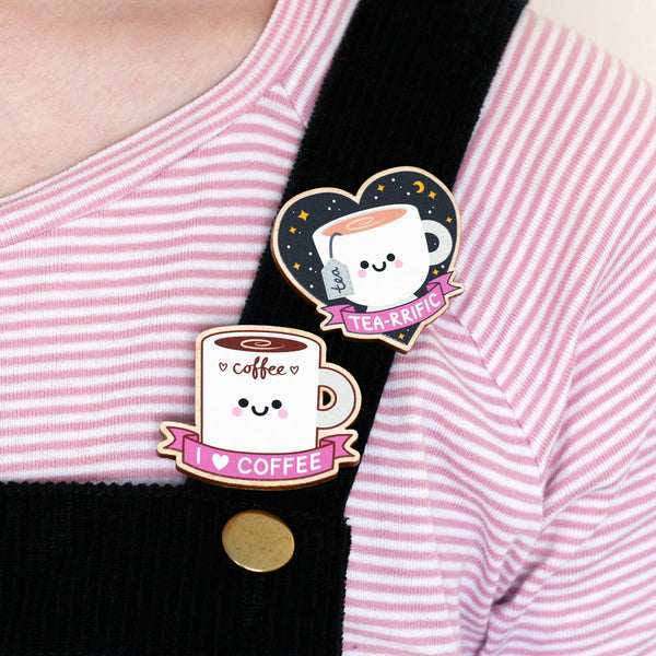 tea and coffee wooden pin badges