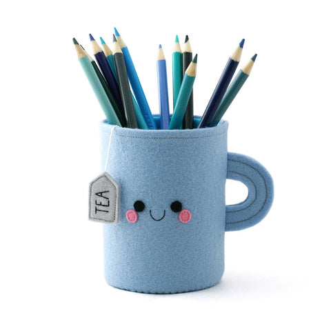 blue teacup pen pot by hannahdoodle