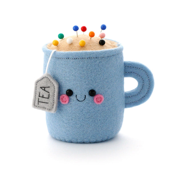 cornflower blue teacup pincushion