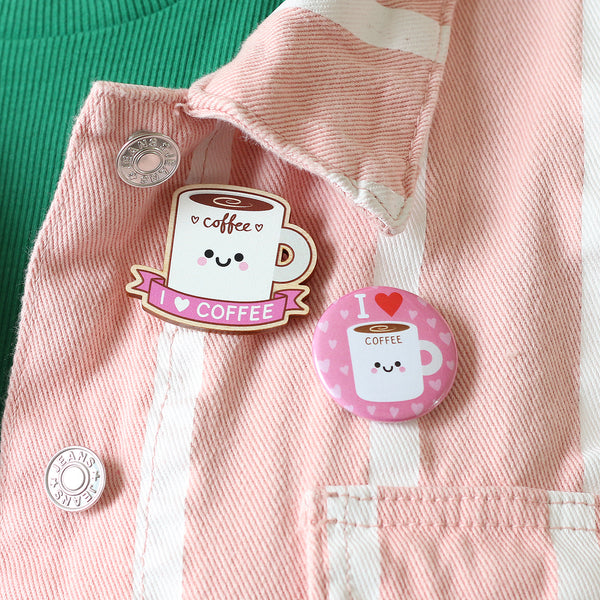 Kawaii Coffee Pin Badges