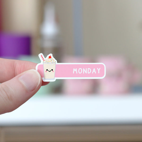 Days of the Week Kawaii Food Sticker Sheet Milkshake Monday