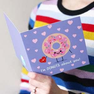 Donuts About You Card, Valentines Card hannahdoodle
