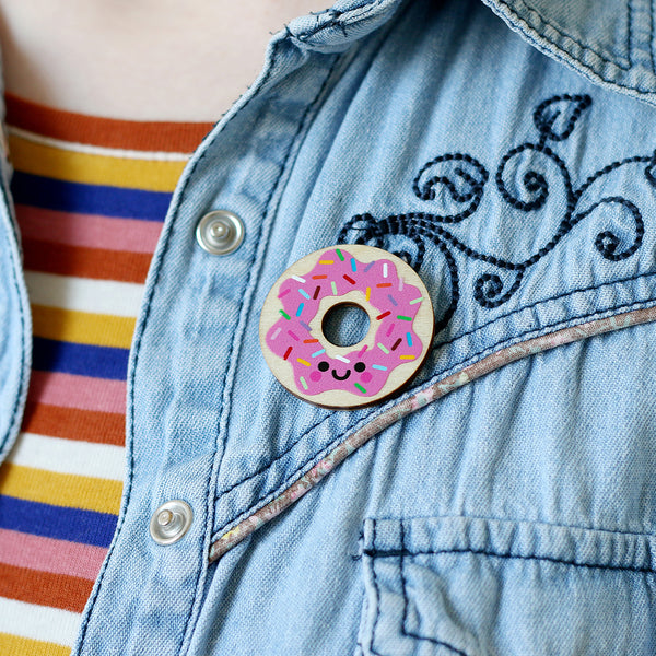 Donut Wooden Pin Badge