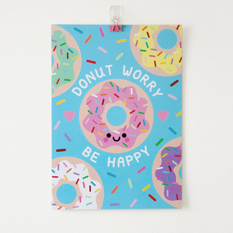 Donut Worry Be Happy, A4 Print