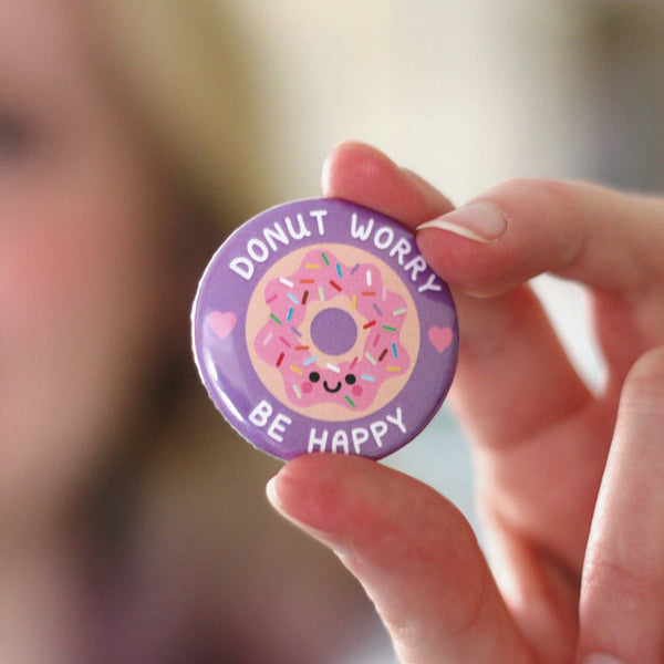 donut worry, be happy button badge on hannahdoodle branded card