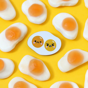 Double Yolk Fried Egg Kawaii Pin Badge by hannahdoodle