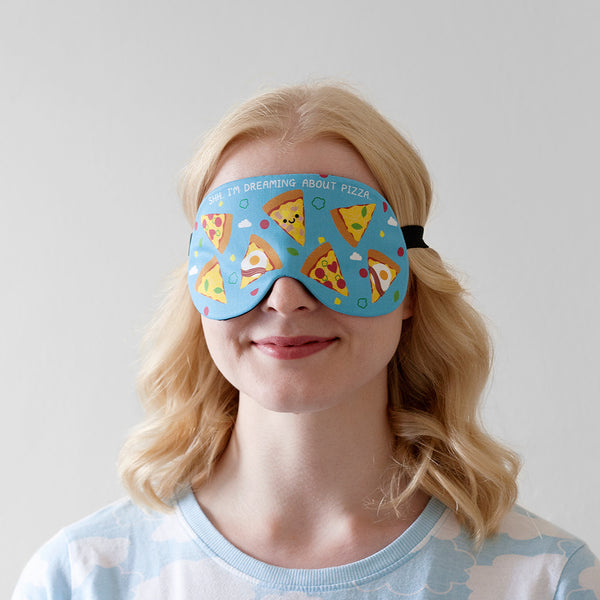 Lady Wearing Pizza Sleep Mask