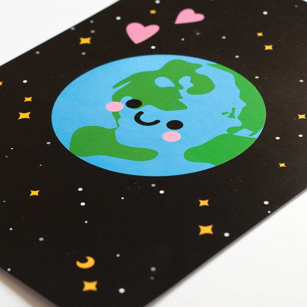 planet earth art print by hannahdoodle