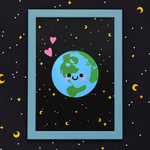 Planet Earth Kawaii Art Print A4 by hannahdoodle