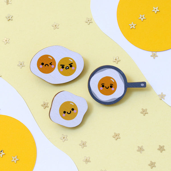 Egg Wooden Pin Badges by hannahdoodle