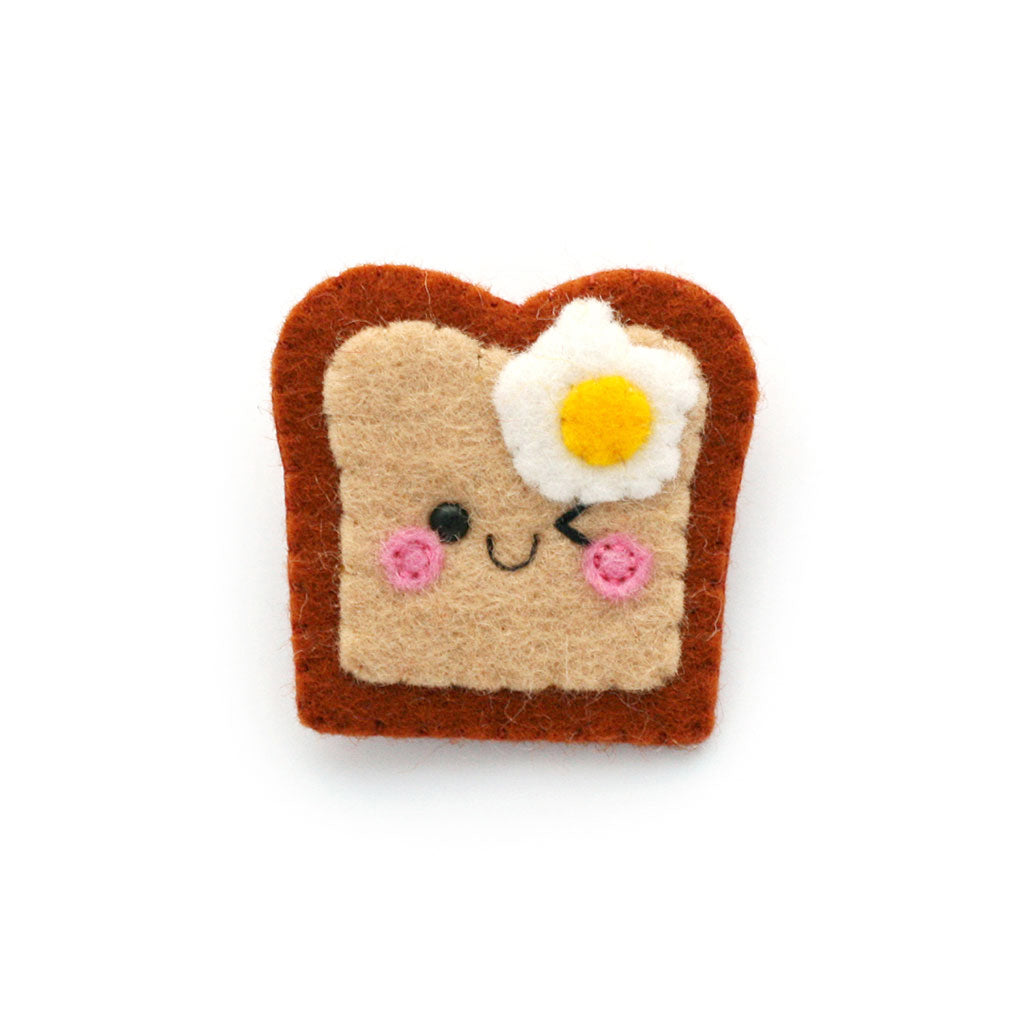 Fried Egg on Toast Felt Brooch
