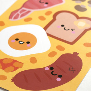 English breakfast kawaii food a4 print