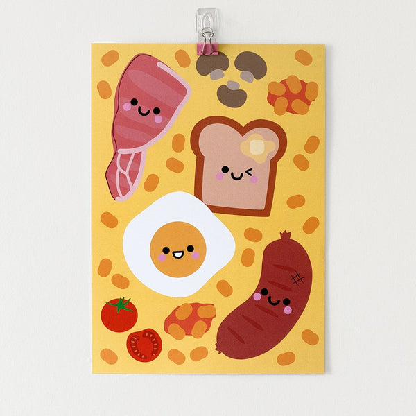 English Breakfast Kawaii food print A4