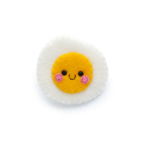Fried Egg Felt Brooch
