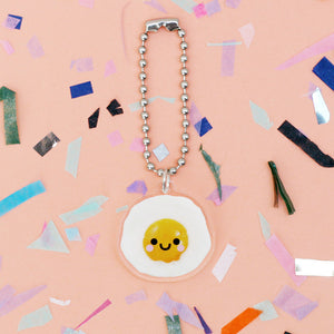happy fried egg acrylic keyring