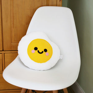 Fried Egg Plushie on chair