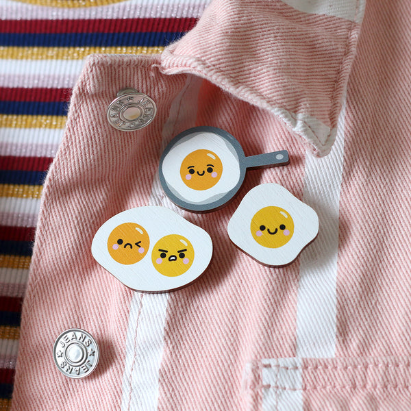 Wooden Fried Egg Pin Badges by hannahdoodle