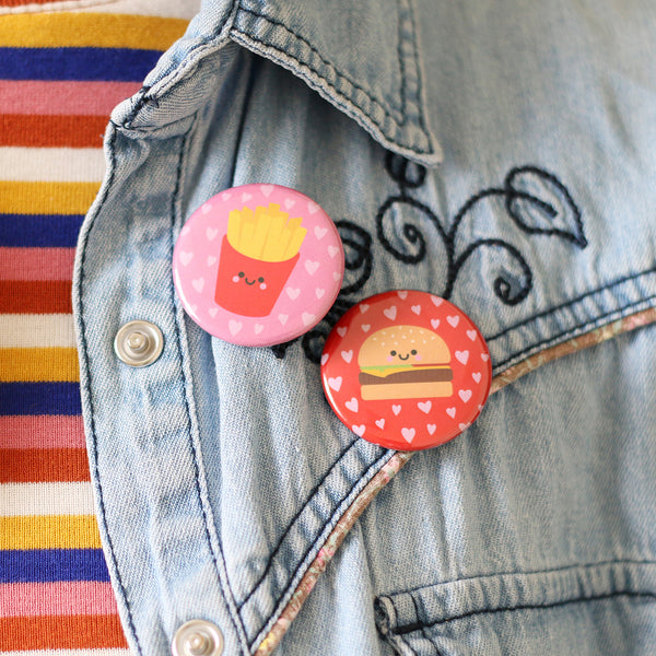 Burger and Fries Button Badges