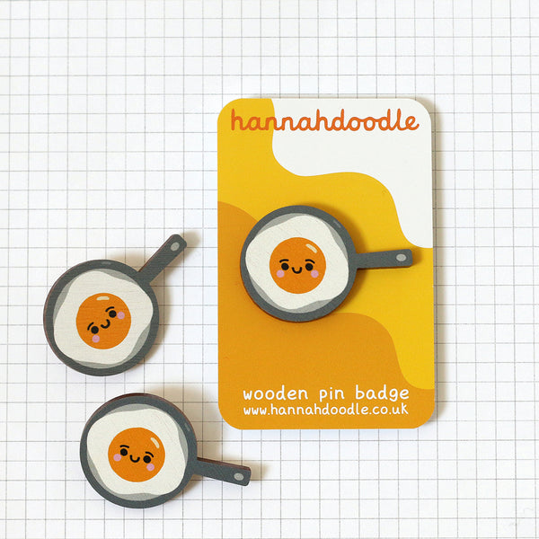 Kawaii Fried Egg Wooden Pin Badges