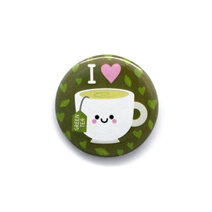 green tea button badge