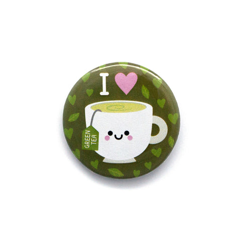 Green Tea Button Badge by hannahdoodle