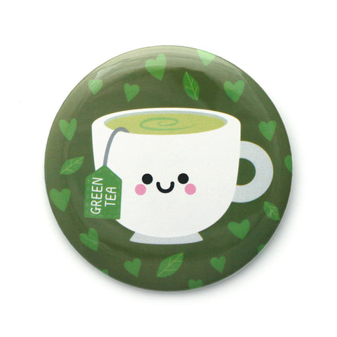 green teacup pocket mirror