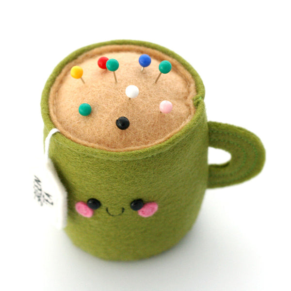 green tea felt pincushion