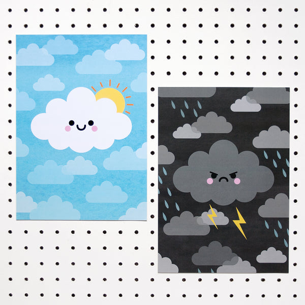 Sunshine cloud and kawaii thunder cloud a4 prints