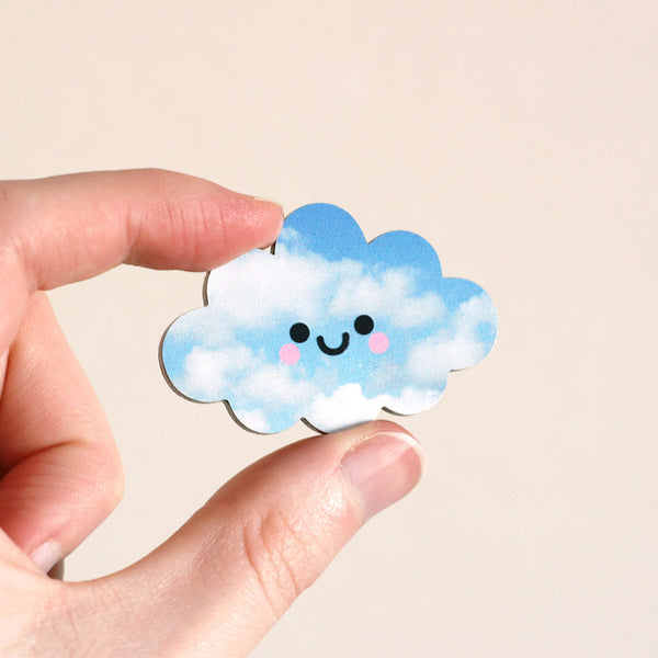 Happy Cloud Wooden Pin Badge